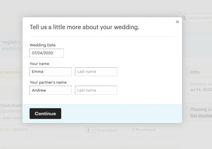 etsy wedding registry