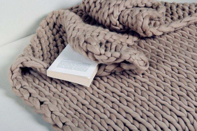 chunky knit blanket via etsy wedding registry