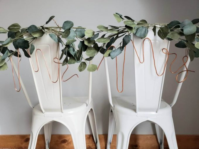 copper wedding chair signs
