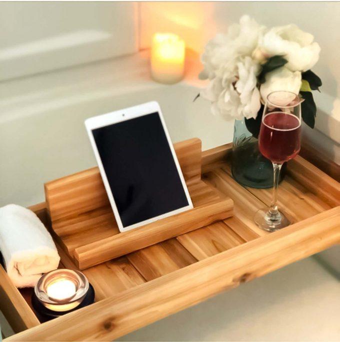 wood bath tray via etsy wedding registry