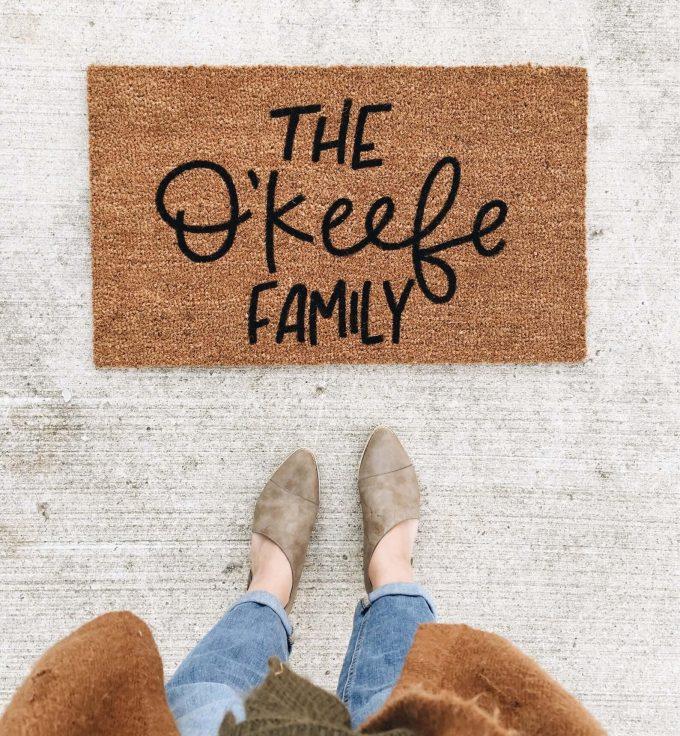 custom doormat via etsy wedding registry