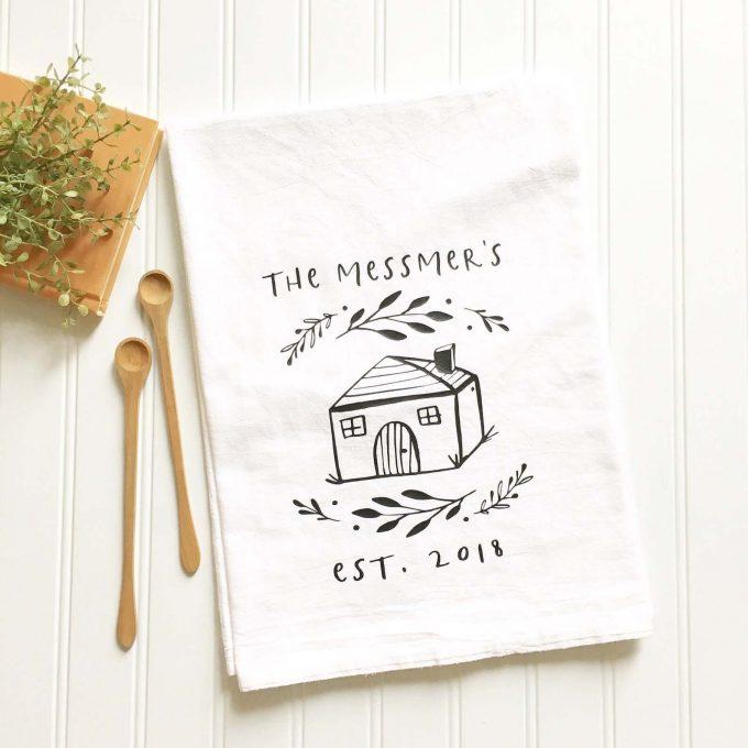 personalized tea towel via etsy wedding registry