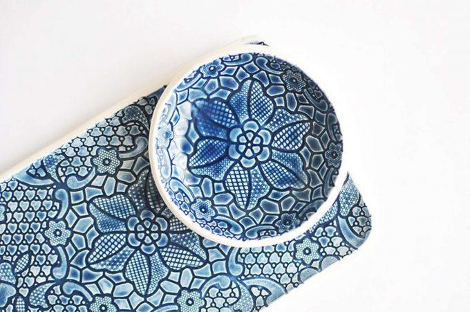 blue ceramic tray via etsy wedding registry