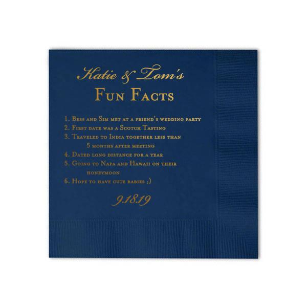 fun facts napkins wedding