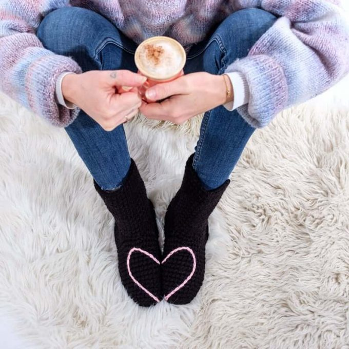 heart slipper socks