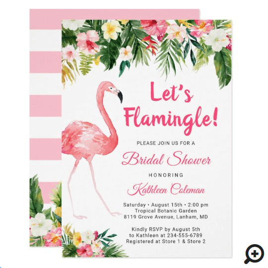 flamingo bridal shower invitations