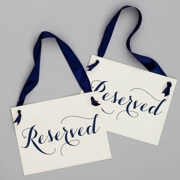 reserved wedding sign