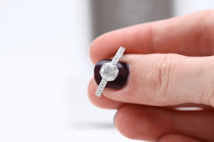 salt and pepper diamond engagement ring