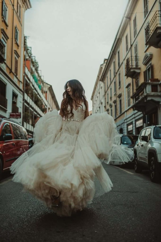 beige tulle wedding dress