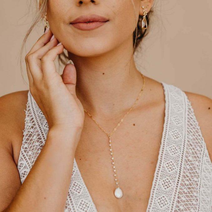 y shaped wedding necklace