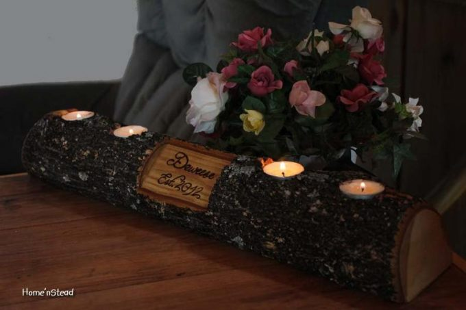 birch log candle holders for wedding centerpieces
