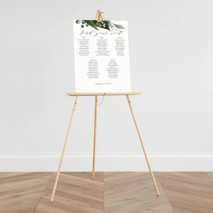 easel for seating chart
