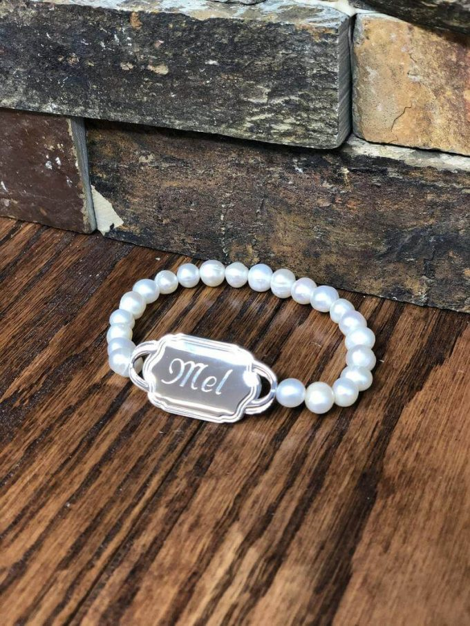 pearl monogrammed bridesmaid gifts