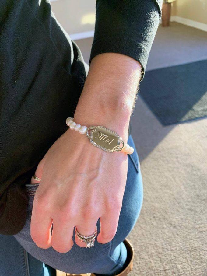 pearl bracelet monogrammed bridesmaid gifts