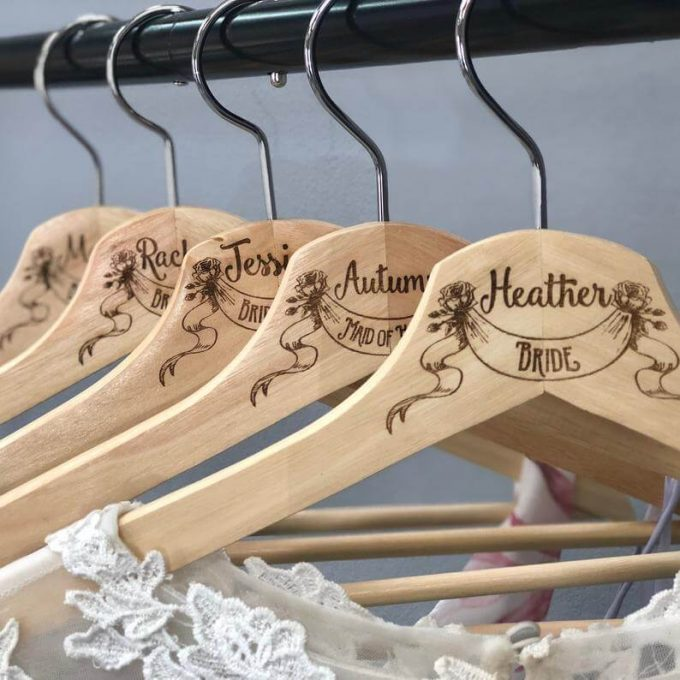 laser engraved wedding hangers