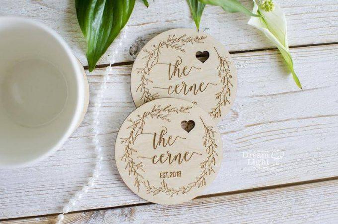 wood wedding coasters