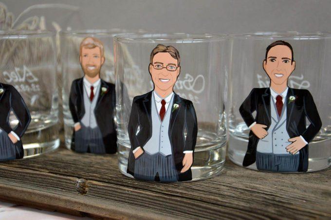 painted groomsmen glasses