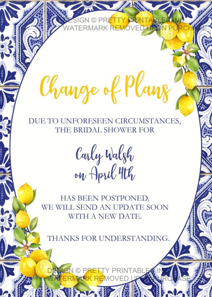 bridal shower cancellation