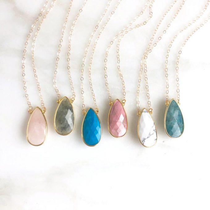Stone Teardrop Necklace