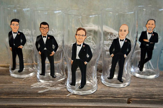 groomsmen whiskey glasses cariacature