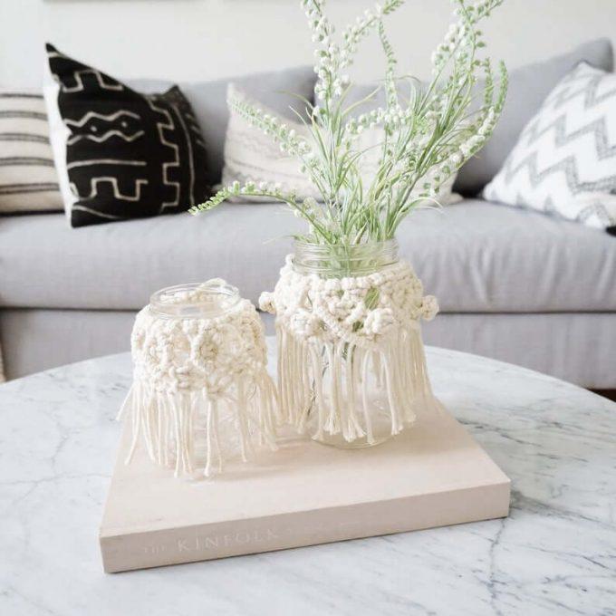 boho wedding vases with macrame
