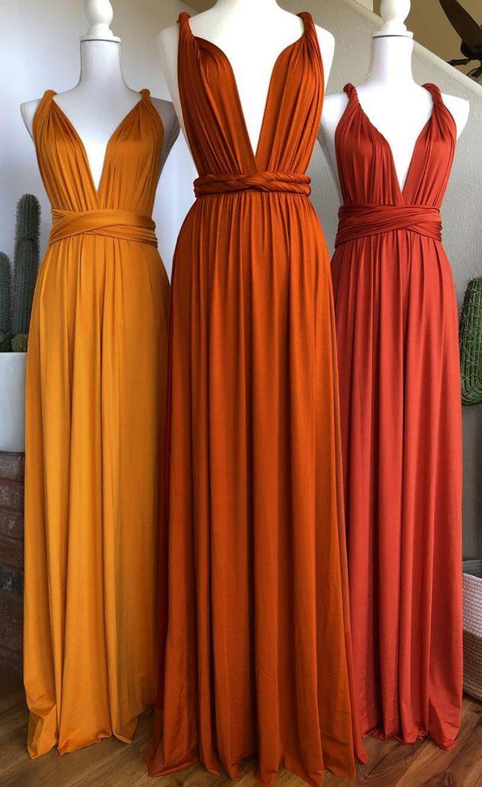 rust bridesmaid dress