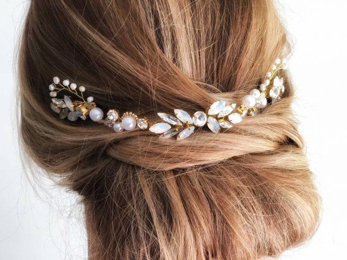 pearl hair vine wedding