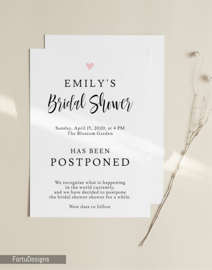 bridal shower cancellation wording