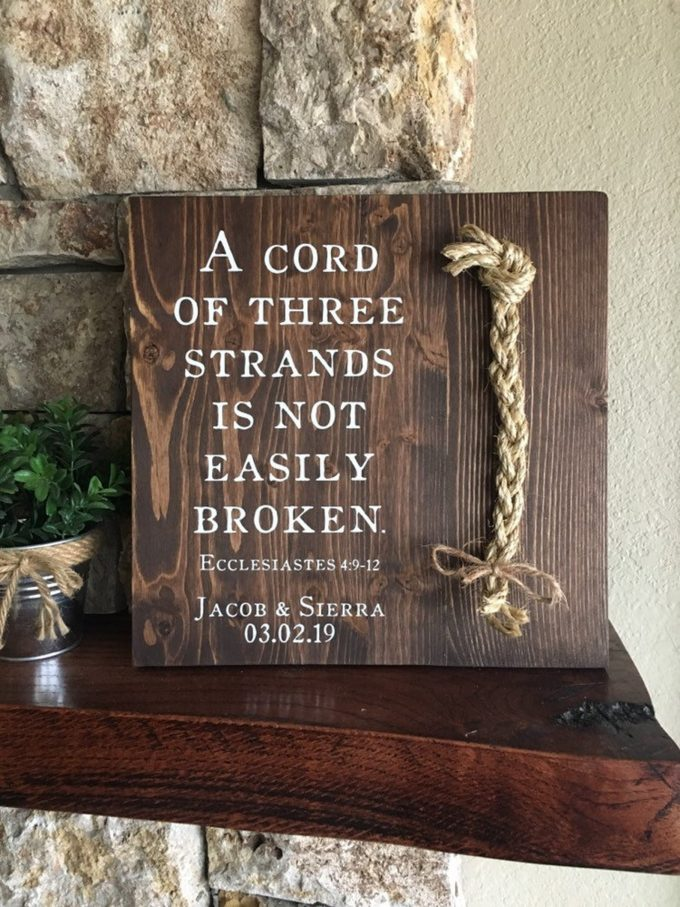 a cord of three strands wedding sign