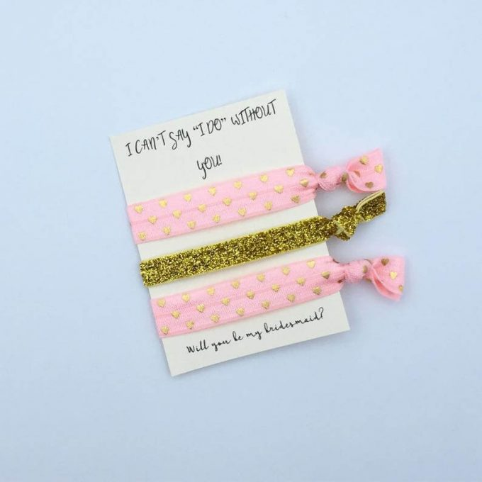 bridesmaid hair tie proposal