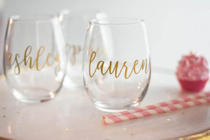 personalized wine glass for bridesmaid proposal box