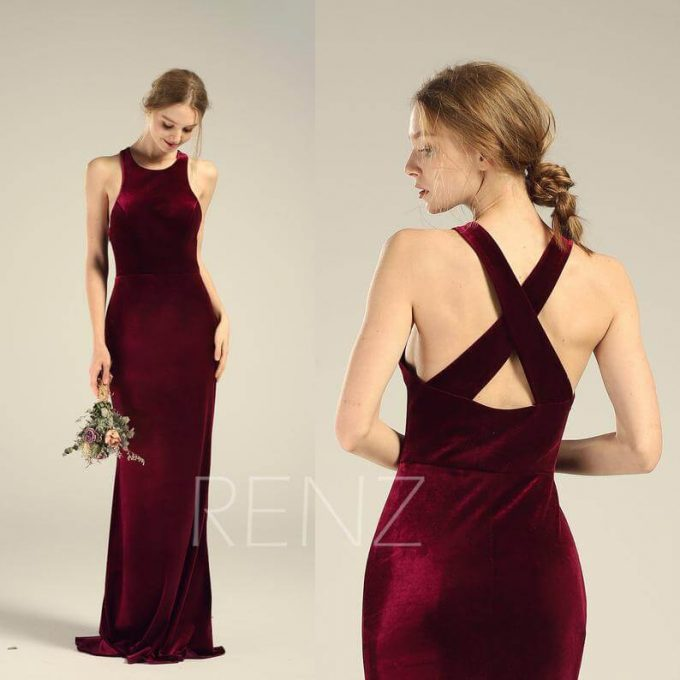 burgundy velvet bridesmaid dress
