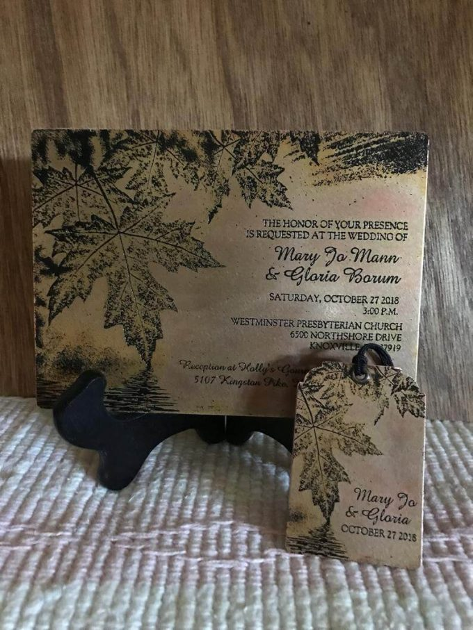 copper wedding invitation ornament