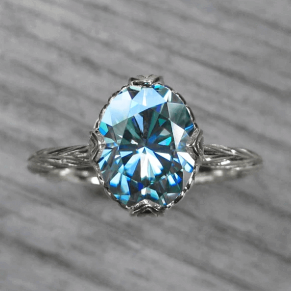 aqua moissanite rings