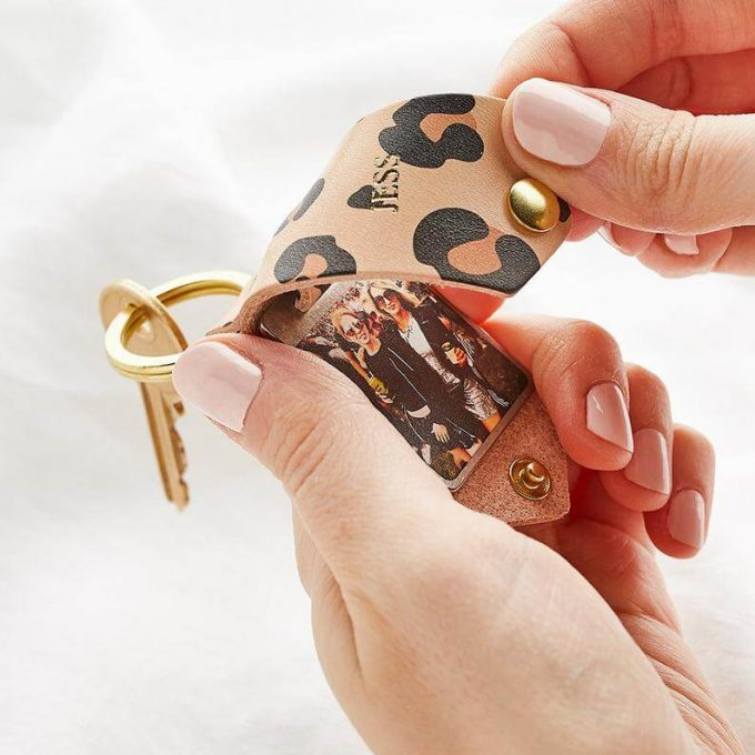 personalized leather keychain with picture