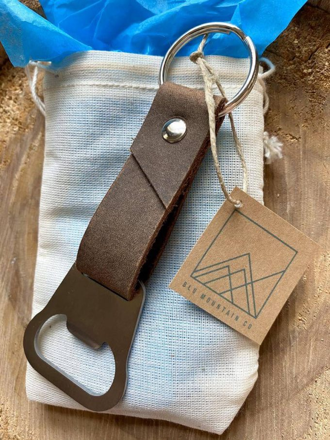 personalized leather keychain with bottle opener