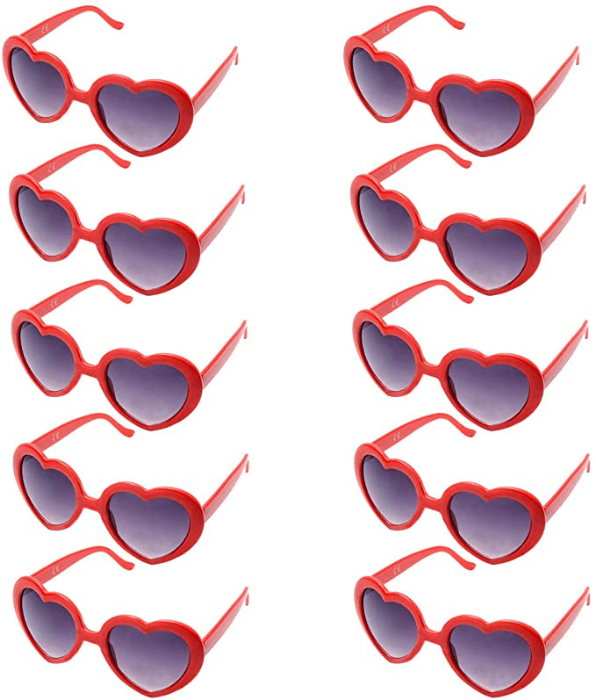 heart shaped sunglasses red