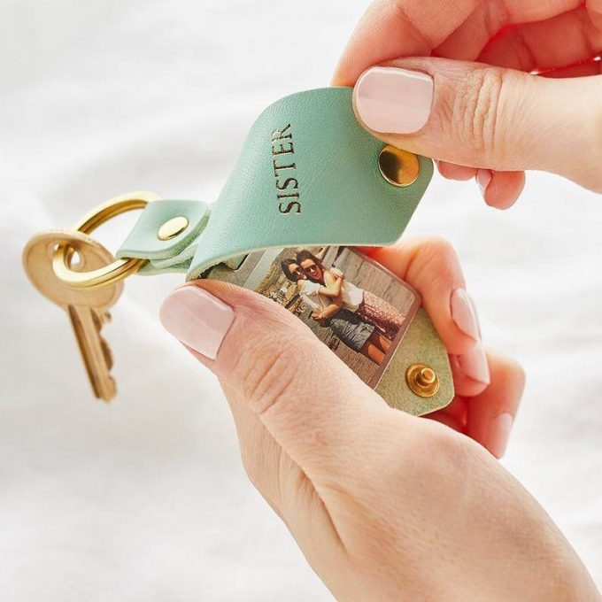 personalized leather keychain with photo for sister