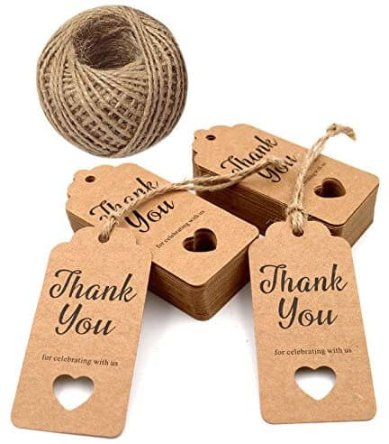 thank you wedding favor tags with heart cut out design and jute twine