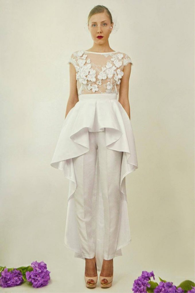 two-piece wedding jumpsuit