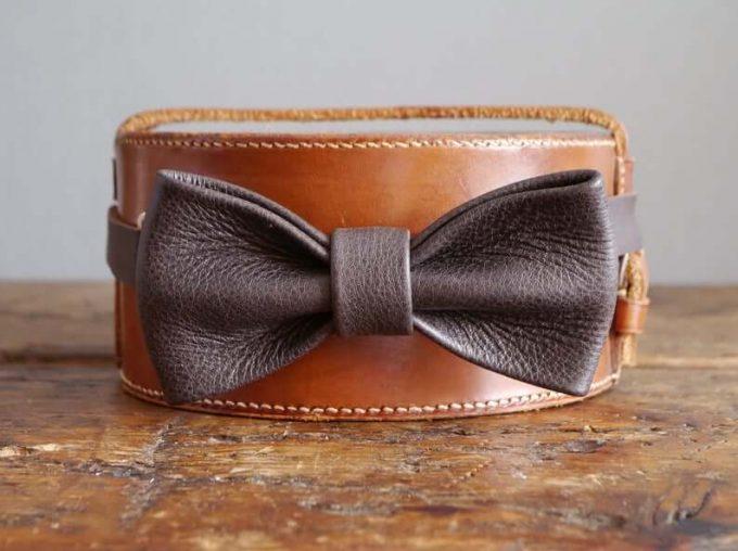 leather wedding bow tie