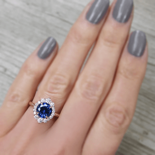 sapphire halo engagement rings