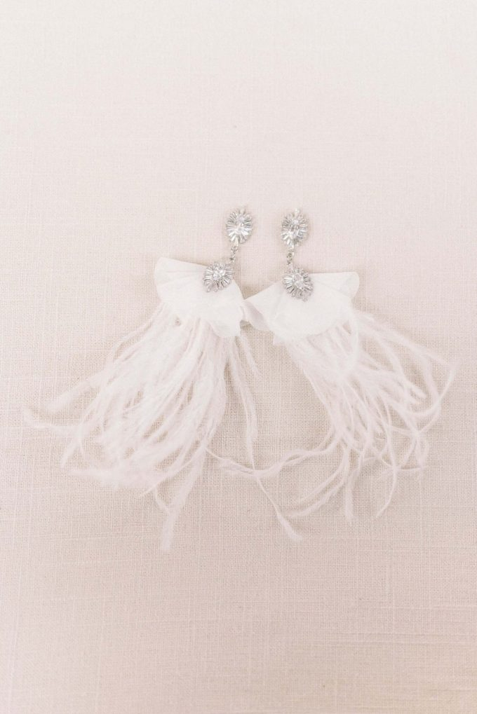 bridal earrings feather