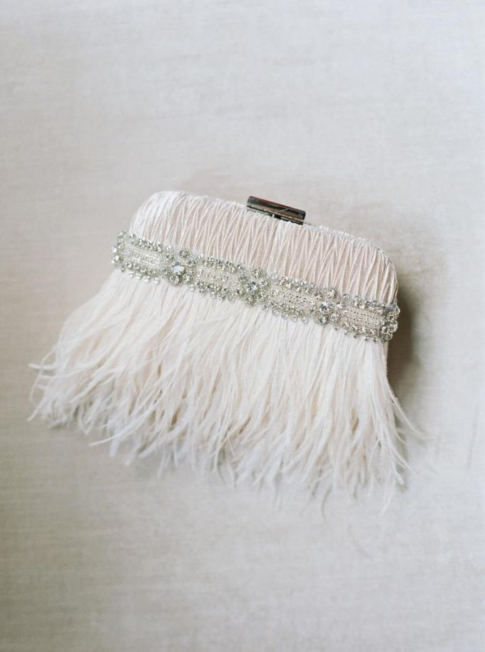 feather bridal clutch