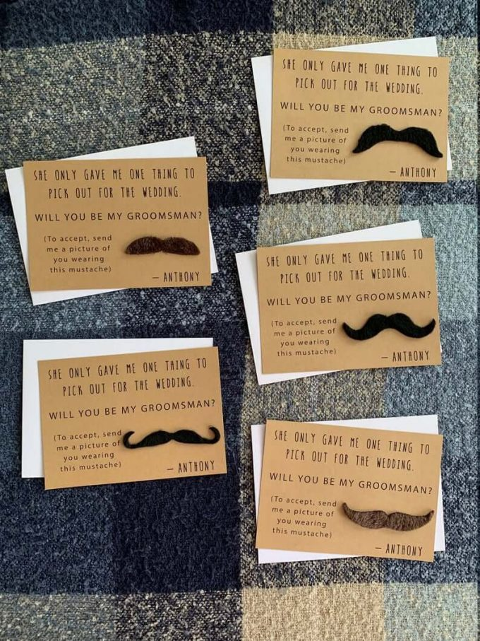 groomsman gift box mustache proposal card