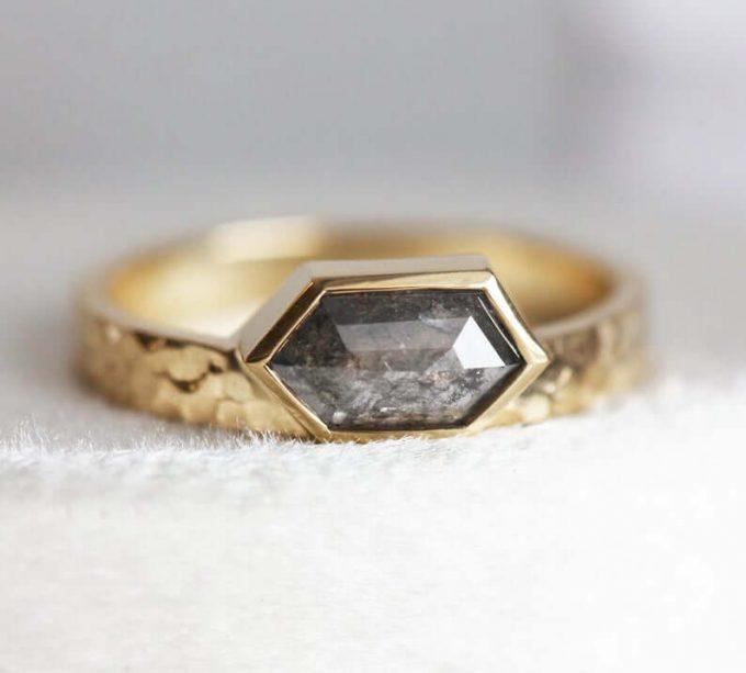 hexagon diamond rings