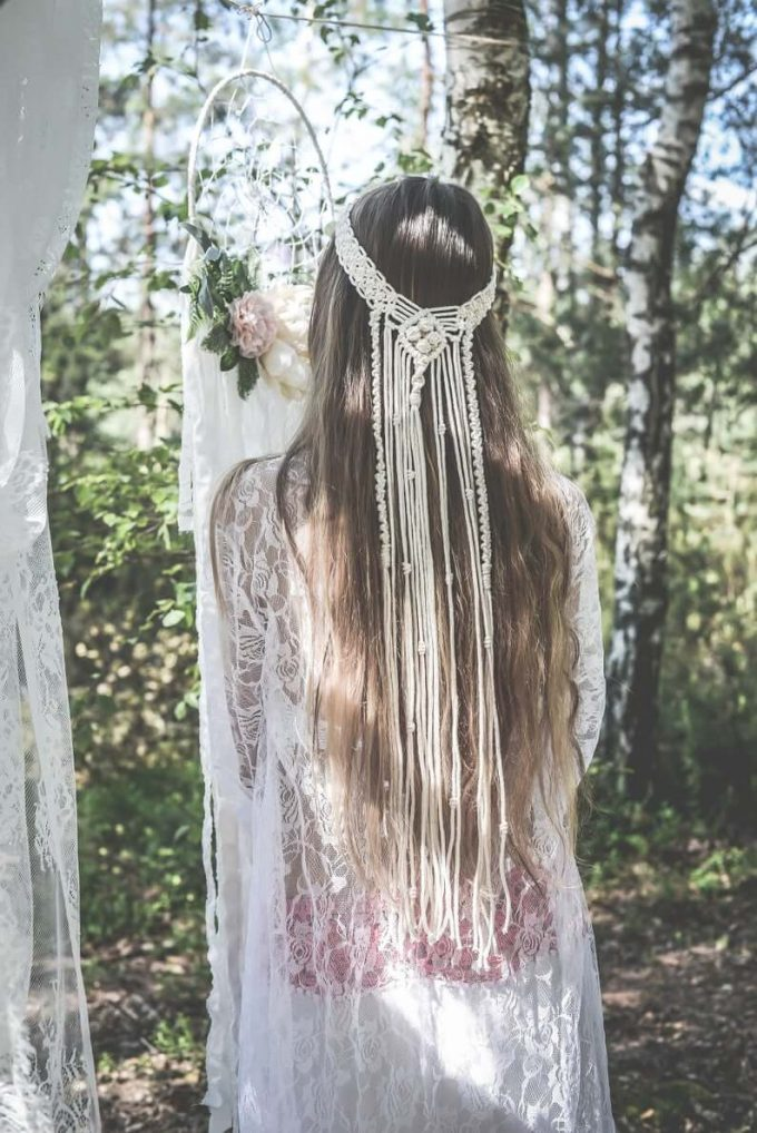 macrame wedding veil