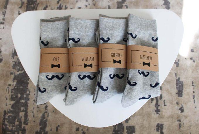 groomsmen mustache socks