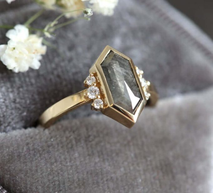 hexagon diamond engagement rings