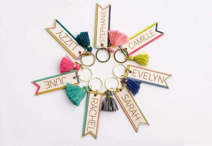name tassel keychain
